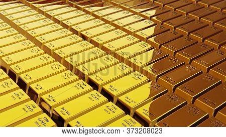 3D Render Of Gold Brick Gold Bar Financial Concept, Studio Shots