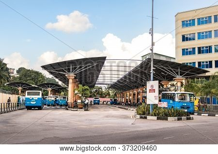Victoria, Seychelles - February 3th, 2019: The Bus Terminal In Victoria, Mahe Island, Seychelles.