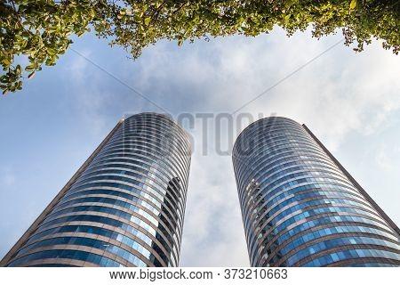 Colombo, Sri Lanka - February 19, 2019: The World Trade Center And Bank Of Ceylon Buildings Towers V
