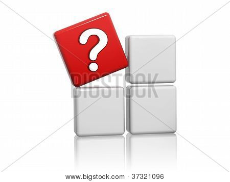 Red Cube With Question-mark Sign On Boxes.