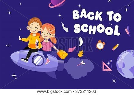 Concept Of Back To School. Kids Hurrying To Study In New Academic Year. Happy Classmates Boy And Gir