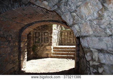 Ancient Dark Secret Passage Of A Castle In Italy