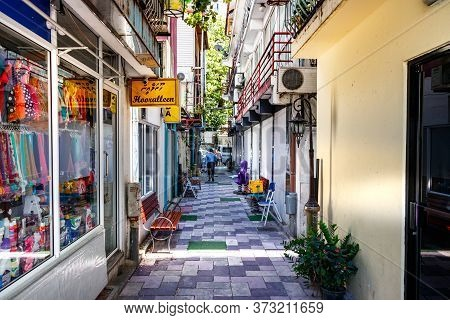 Male, Maldives - February 11th, 2019: A A Narrow Commercial Street In Male, Maldives.