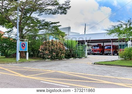 Victoria, Seychelles - February 3th, 2019: The Main Entrance Of The Seychelles Fire And Rescue Servi