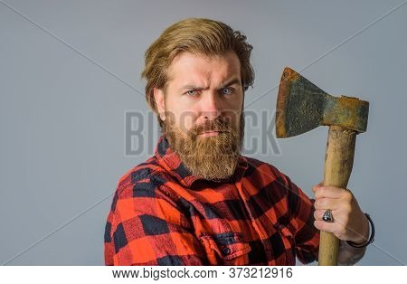 Bearded Man With Old Ax. Bearded Lumberjack. Close Up Portrait Of Man With Ax. Bearded Canadian Lumb