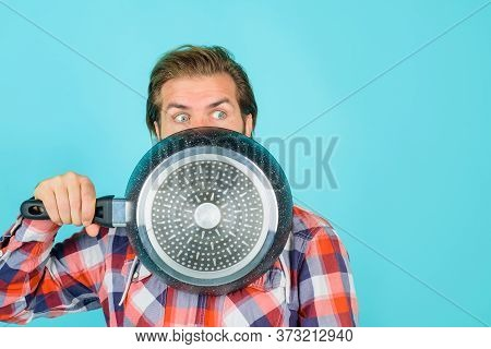 Crazy Chef. Man With Frypan. Happy Man Chef With Pot. Fry-pan. Cooking. Kitchenware. Cooking Utensil