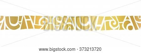 Gold Foil Metallic Abstract Shapes Horizontal Border. Seamless Vector Border. Geometric Hand Drawn F