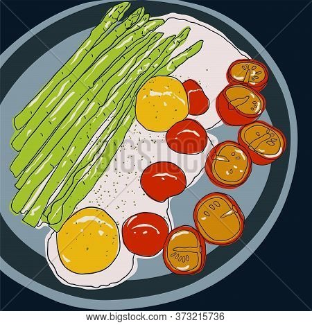 Delicious Breakfast Dish, Fried Eggs With Asparagus And Cherry Tomatoes, Sprinkled With Seasoning. V