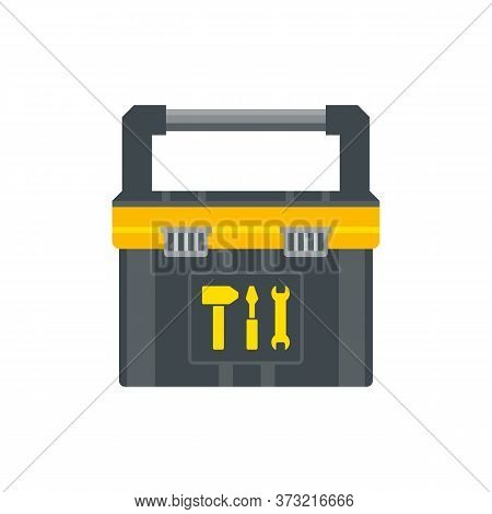 Tool Box For Instruments. Workman Toolkit. Crate For Hand Tools. Workbox In Flat Style. Vector Illus