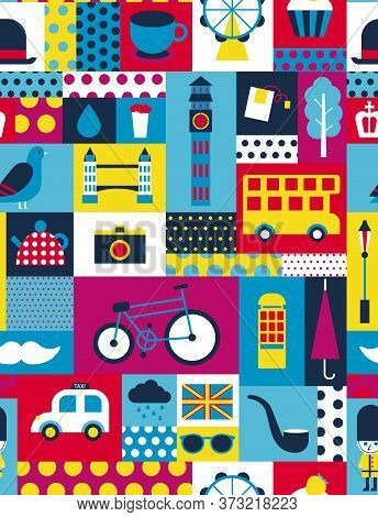 London Pattern Seamless Geometric Design . Travel Tourism Decoration Series.