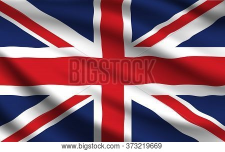 Flag Of United Kingdom 3d Vector Of Realistic Waving Union Jack. National Banner Of United Kingdom O