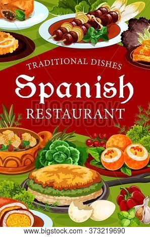 Spanish Cuisine Restaurant Vector Food Of Meat, Fish And Vegetables. Beef Kabob Skewers, Seafood Pae