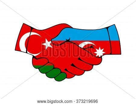 Handshake With Flags Of Turkey And Azerbaijan Countries, Partnership Vector Concept. Turkish And Aze