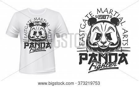 Panda, Fighting Club Vector T-shirt Print Mockup Of Martial Arts And Combat Sport Design. Custom App