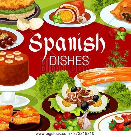 Spanish Cuisine Food, Vector Meat, Fish And Vegetable Dishes With Desserts. Beef Kabob On Skewers, F