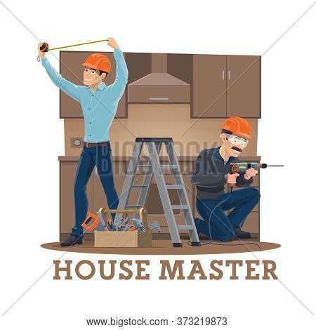 Kitchen Furniture Assembly, Installation And Repair Service Vector Design. Cartoon Furniture Install