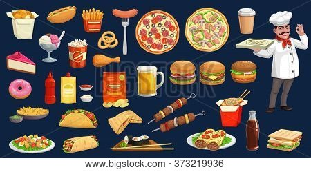 Fast Food, Drink And Desserts With Chef Cartoon Set. Vector Burgers, Pizza, Hot Dog , Soda And Coffe