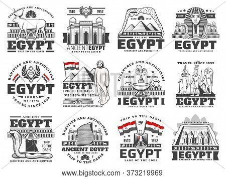Egypt Vector Icons Of Culture, History, Religion And Travel. Ancient Egypt Pharaoh Pyramids, Gods Wi