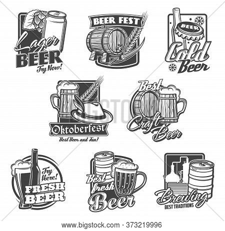 Beer Alcohol Drink Vector Icons With Beer Bottles, Glasses And Mugs. Pub, Bar Or Brewery Pints Of Al