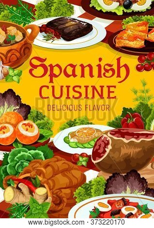 Spanish Cuisine Meat And Fish Dishes With Vegetables, Vector Food. Iberian Ham, Sardine Salad With O