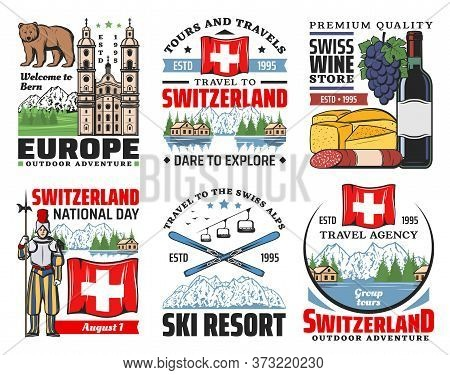 Switzerland Vector Icons Of Swiss Travel And Tourism. Alps Mountains, Skis And Flag, Cheese, Wine An