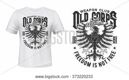 Heraldic Eagle Vector Print Mockup For T-shirt Of Military, Weapon Or Shooting Sport Clubs. Black Ea