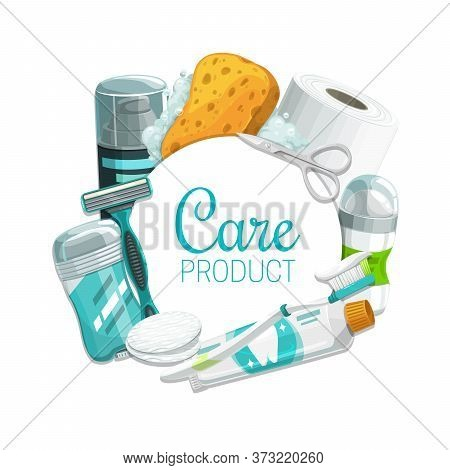 Hygiene Or Personal Care Vector Products. Toothbrush, Toothpaste, Soap And Sponge, Toilet Paper, Deo