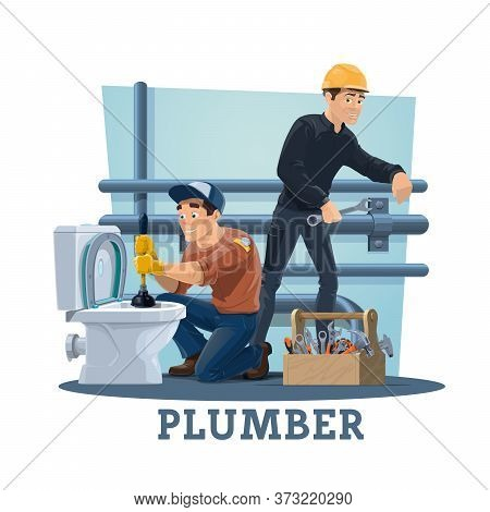 Plumbers With Work Tools, Cartoon Vector Workers Of Plumbing Repair And Maintenance Service. Plumber