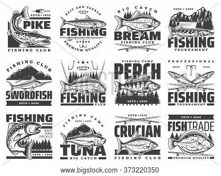 Fishing Sport And Leisure Icons, Fish Lures And Fisherman Hooks For Salmon And Tune. Fishing Tournam