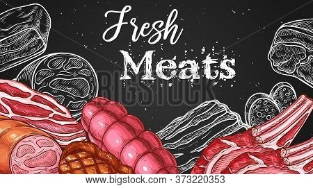 Meat Chalkboard Sketch Butchery Shop Food Products And Sausages. Butcher Store Meat Delicatessen Por