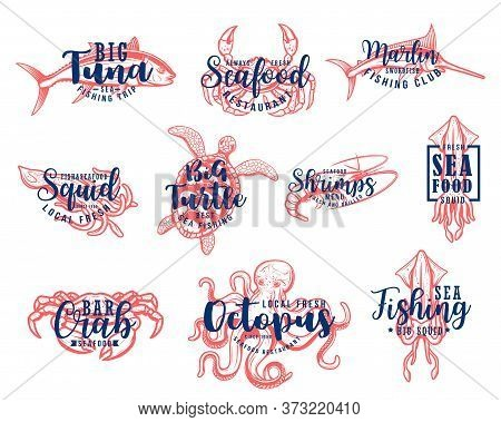 Seafood Lettering, Fishing Club And Fish Market Vector Icons. Seafood Restaurant, Fishing Tournament
