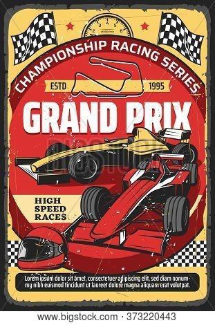 Car Races Retro Poster, Vintage Auto Rally Sport Championship And Grand Prix Tournament, Vector. Ret