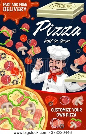 Pizza Order Delivery, Pizzaiolo Of Italian Pizzeria Restaurant, Vector Fast Food Menu. Pizzeria Pizz