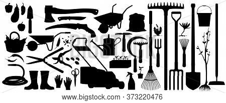Gardening And Farming Agriculture Tools, Vector Silhouette Icons. Garden And Farm Cultivation Equipm