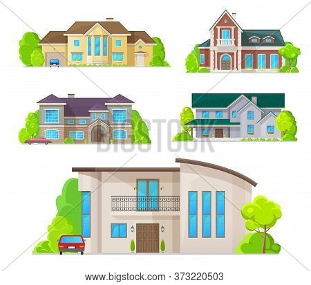 Houses, Home Buildings Architecture, Property Real Estate Cottages And Apartments, Vector Flat Icons