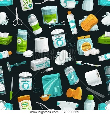 Hygiene And Healthcare Seamless Pattern, Washing And Bathing Items Background. Health Care Toiletrie