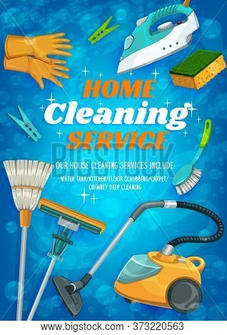 Cleaning Service, House And Flat Washing, Domestic Laundry, Mop And Vacuum Cleaner, Vector Poster. H