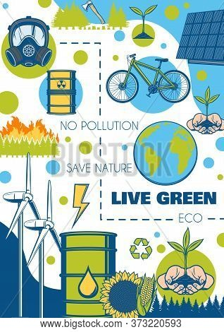 Environment And Ecology Poster, Green Energy And Earth Nature Conservation, Vector Eco Concept. Save
