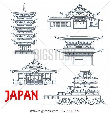 Japan Temples, Japanese Pagoda Buildings In Kamakura And Yamagata, Vector Landmark Icons. Engakuji Z
