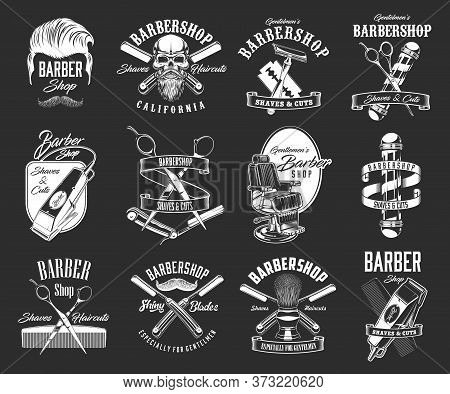 Barbershop Haircut Icons, Vintage, Hipster Hairdresser Pole And Skull Beard Vector Signs. Barber Sho