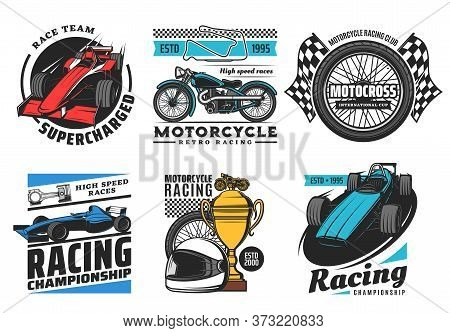 Racing And Motorsport Icons, Motorcycle And Car Rally Races, Speedway And Motocross Vector Emblems.