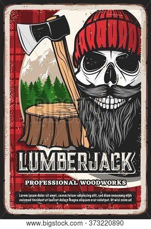 Lumber Jack Retro Poster, Lumberjack Logger Man Skull Beard, Woodcutter Man With Axe. Lumberjack Woo