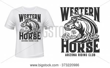 Horse Stallion T-shirt Print, Riding Sport Club, Equestrian Polo Racing, Vector Mockup. Wild Horse S