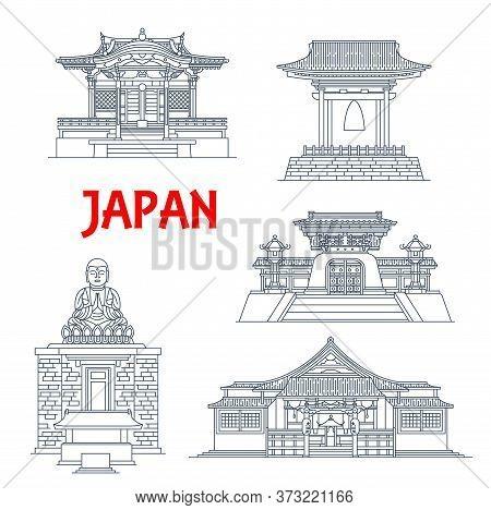 Japan Buildings, Japanese Temples, Houses And Pagoda Towers, Architecture Landmarks Of Kamakura. Bel