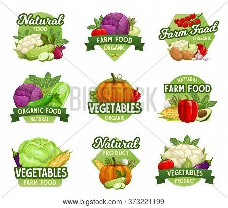 Vegetables Icons, Farm Market Food Veggies, Greenery Products Store, Vector Emblems. Organic Farm Ve
