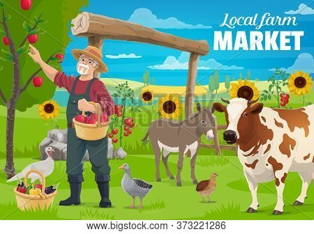 Gardening And Farming, Farmer And Farm Animals, Cow Cattle And Poultry, Agriculture Vector Poster. F