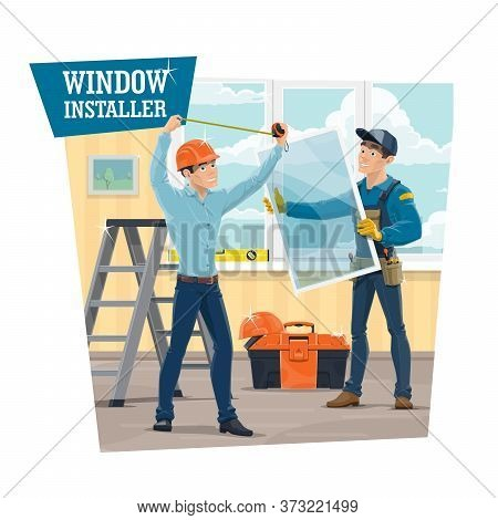 Upvc Windows Installer Service, Vector Banner. Workers In Uniform Measuring A Frame With Tape And In