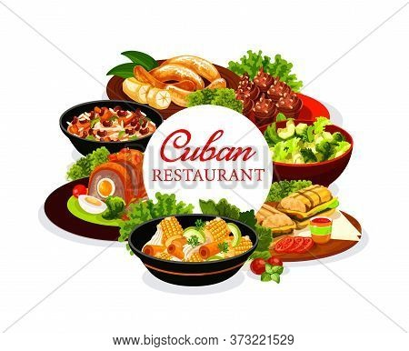 Cuban Cuisine Dishes Round Vector Banner. Cuban Restaurant Meals Menu Cover. Served On Plates And Bo