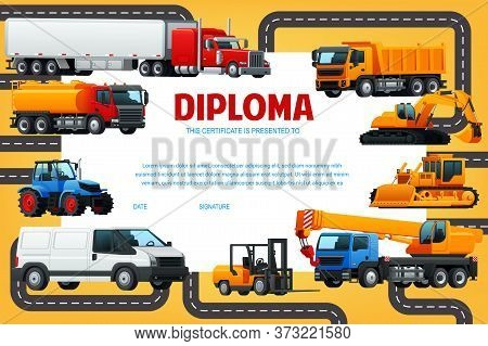 Kindergarten, School Kids Diploma Vector Template. Certificate With Industrial, Construction And Min