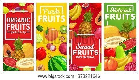 Ripe Fruits Vector Vertical Banners. Tropical Fruits Farm Lime And Lemon, Maracuya, Watermelon And M